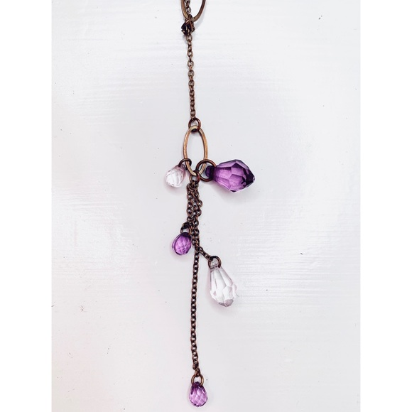✨4/24✨ Drop dangle necklace with purple beads